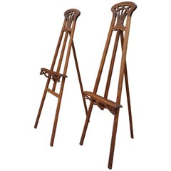 Antique Pair of Wooden Arts & Crafts Painting Easels / Gallery Display Stand