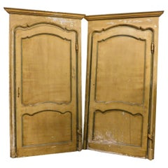 Antique Pair of Yellow Lacquered Doors with Original Frame, 18th Century, Italy