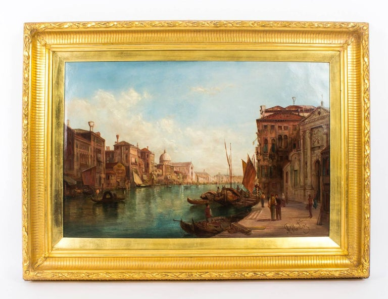 Antique Pair Oil Paintings Grand Canal Venice Alfred Pollentine, 19th Century For Sale 4