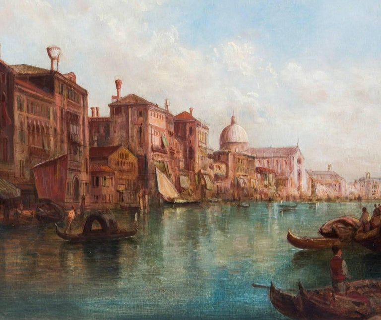 Antique Pair Oil Paintings Grand Canal Venice Alfred Pollentine, 19th Century For Sale 6
