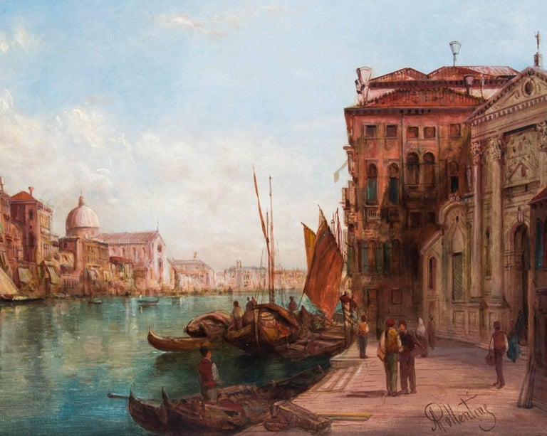 Antique Pair Oil Paintings Grand Canal Venice Alfred Pollentine, 19th Century For Sale 7