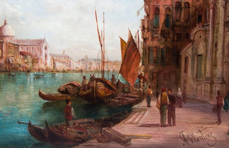 Antique Pair Oil Paintings Grand Canal Venice Alfred Pollentine, 19th Century For Sale 8