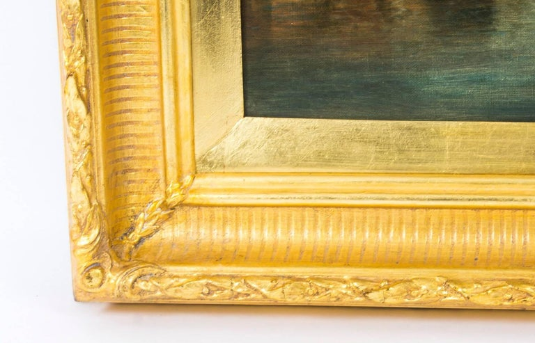 Antique Pair Oil Paintings Grand Canal Venice Alfred Pollentine, 19th Century For Sale 11