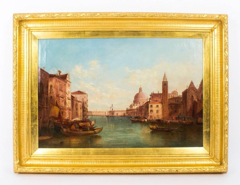 This is a lovely pair of oil on canvas paintings of the view of the Grand Canal in Venice by the renowned British artist Alfred Pollentine (1836-1890) and each is signed lower right