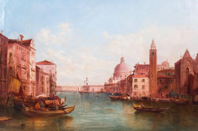 British Antique Pair Oil Paintings Grand Canal Venice Alfred Pollentine, 19th Century For Sale