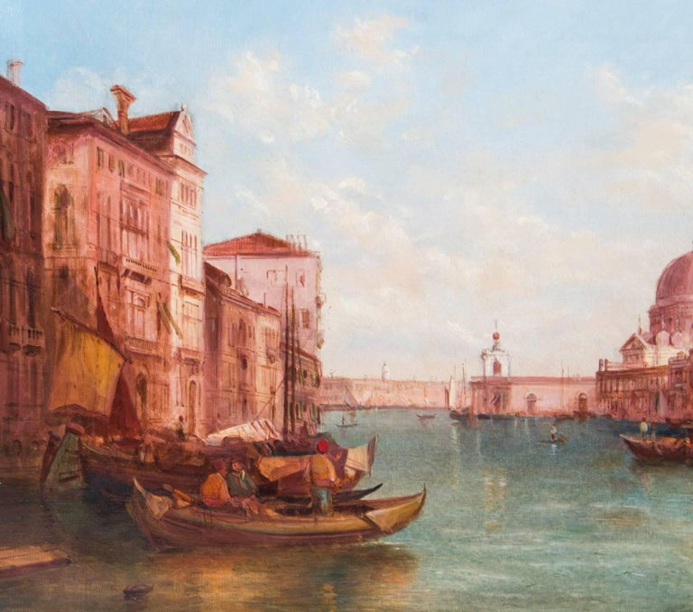 Gilt Antique Pair Oil Paintings Grand Canal Venice Alfred Pollentine, 19th Century For Sale