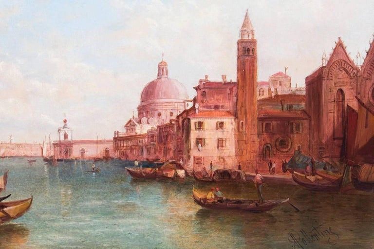 Antique Pair Oil Paintings Grand Canal Venice Alfred Pollentine, 19th Century In Excellent Condition For Sale In London, GB