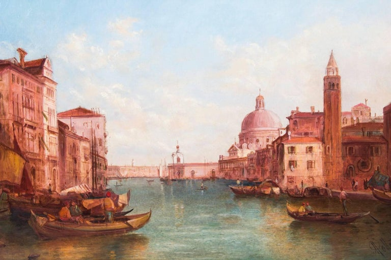 Late 19th Century Antique Pair Oil Paintings Grand Canal Venice Alfred Pollentine, 19th Century For Sale