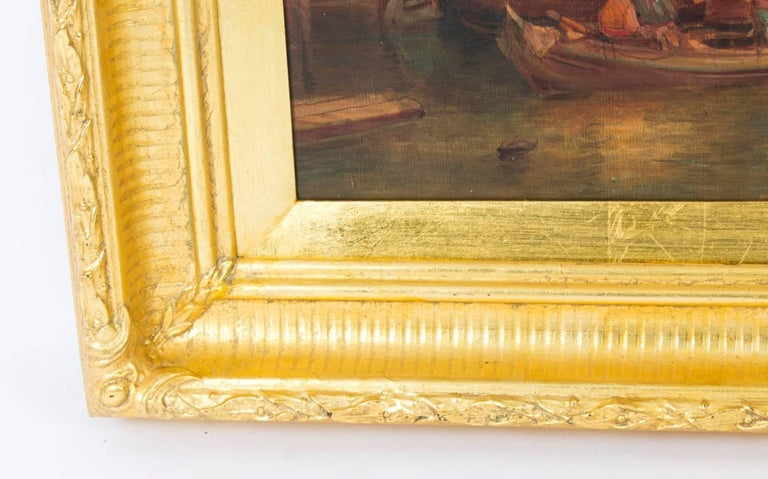 Antique Pair Oil Paintings Grand Canal Venice Alfred Pollentine, 19th Century For Sale 2