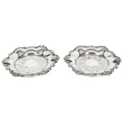 Antique Pair Old Sheffield Silver Plated Wine Coasters, 19th Century