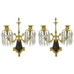 Antique Ormolu Bronze Marble Crystal Twin Branch Candelabra French Luster, Pair