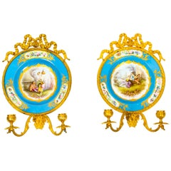 Pair of Ormolu and Sevres Porcelain Two Branch Wall Lights Sconces, 19th Century