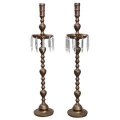 Antique Pair of Oversized Brass and Crystal Prism Balustrade Floor Candelabra