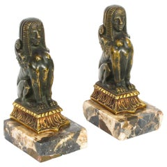Antique Pair of Patinated Bronze Sphinx Library Bookends, 19th Century