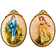 Antique Pair of Porcelain Wall Plaques Ormolu Frames, 19th Century