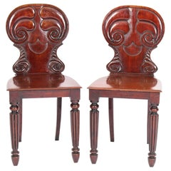Antique Pair of Regency Mahogany Hall Chairs by Gilllows, 19th Century