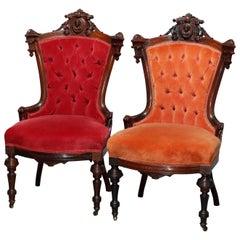 Antique Pair Renaissance Revival Jelliff Carved Rosewood Figural Boudoir Chairs