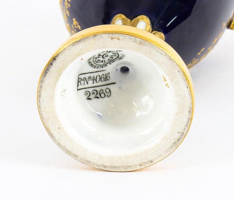 Antique Pair of Royal Worcester Porcelain Two Handled Pedestal Ovoid Vases 1903 For Sale 8