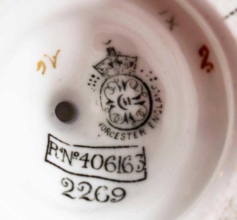 Antique Pair of Royal Worcester Porcelain Two Handled Pedestal Ovoid Vases 1903 For Sale 10