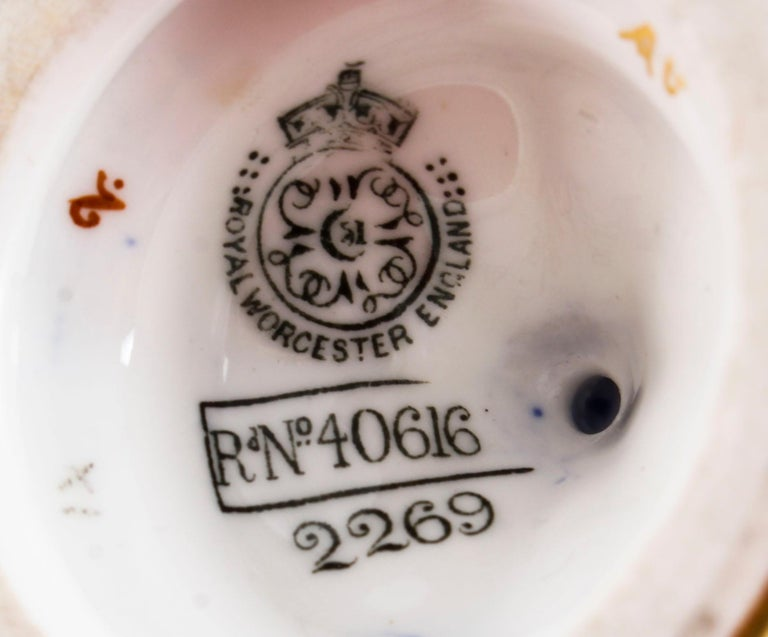 Antique Pair of Royal Worcester Porcelain Two Handled Pedestal Ovoid Vases 1903 For Sale 11