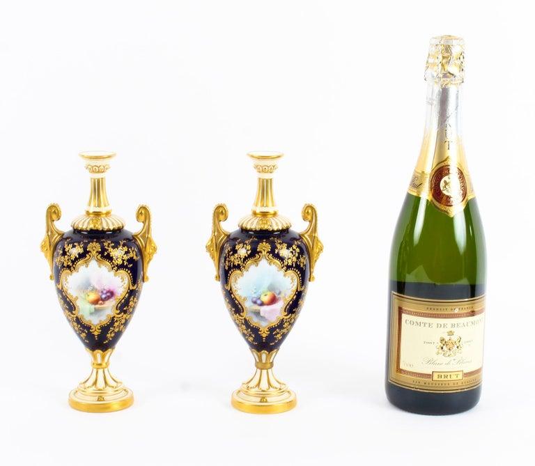 Antique Pair of Royal Worcester Porcelain Two Handled Pedestal Ovoid Vases 1903 For Sale 12