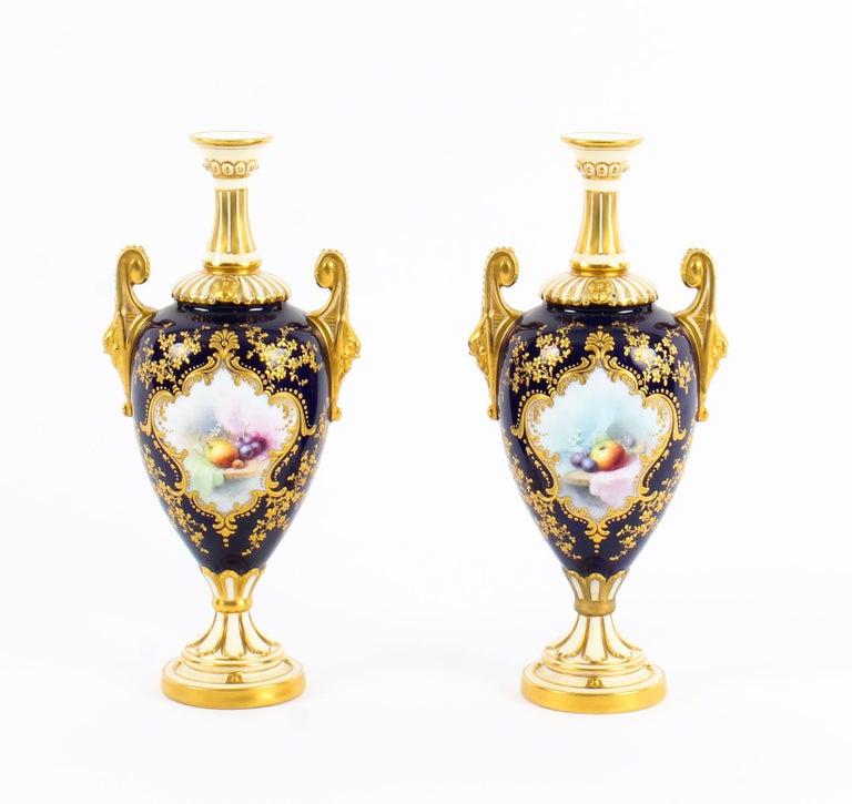 Antique Pair of Royal Worcester Porcelain Two Handled Pedestal Ovoid Vases 1903 For Sale 13