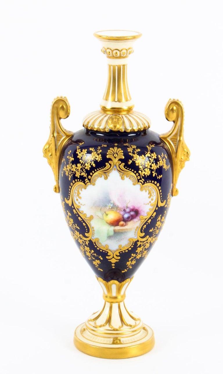 English Antique Pair of Royal Worcester Porcelain Two Handled Pedestal Ovoid Vases 1903 For Sale