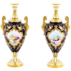 Antique Pair of Royal Worcester Porcelain Two Handled Pedestal Ovoid Vases 1903