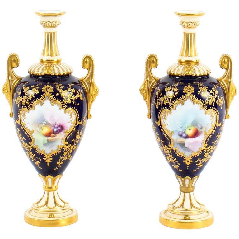 Antique Pair of Royal Worcester Porcelain Two Handled Pedestal Ovoid Vases 1903 For Sale