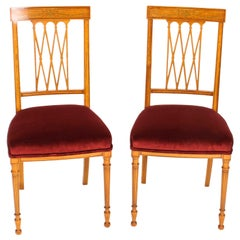 Pair of Satinwood Sheraton Revival Side Chairs by Maple & Co. 19th Century