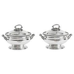Antique Pair Sauce Tureens Entree Dishes Elkington 19th Century