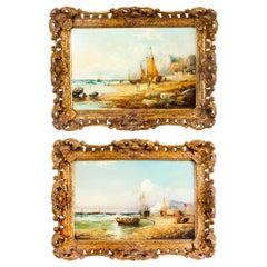 Antique Pair Seascape Paintings by John James Wilson 19th Century