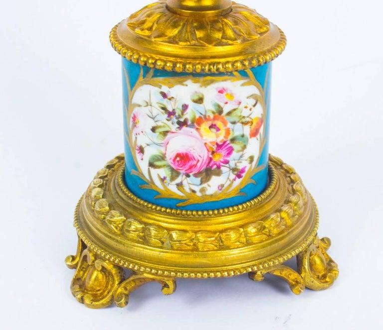 Antique Pair of Sèvres Bleu Celeste Porcelain Ormolu Candelabra, 19th Century For Sale 5