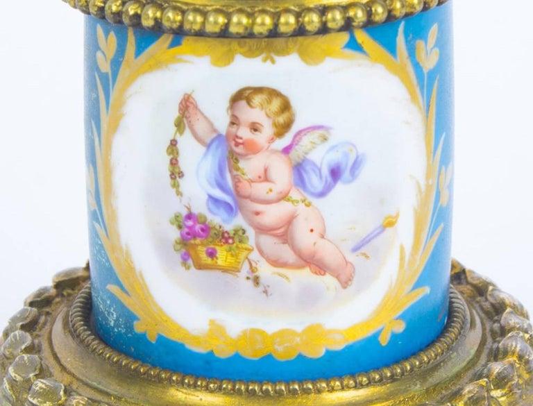 Antique Pair of Sèvres Bleu Celeste Porcelain Ormolu Candelabra, 19th Century For Sale 10