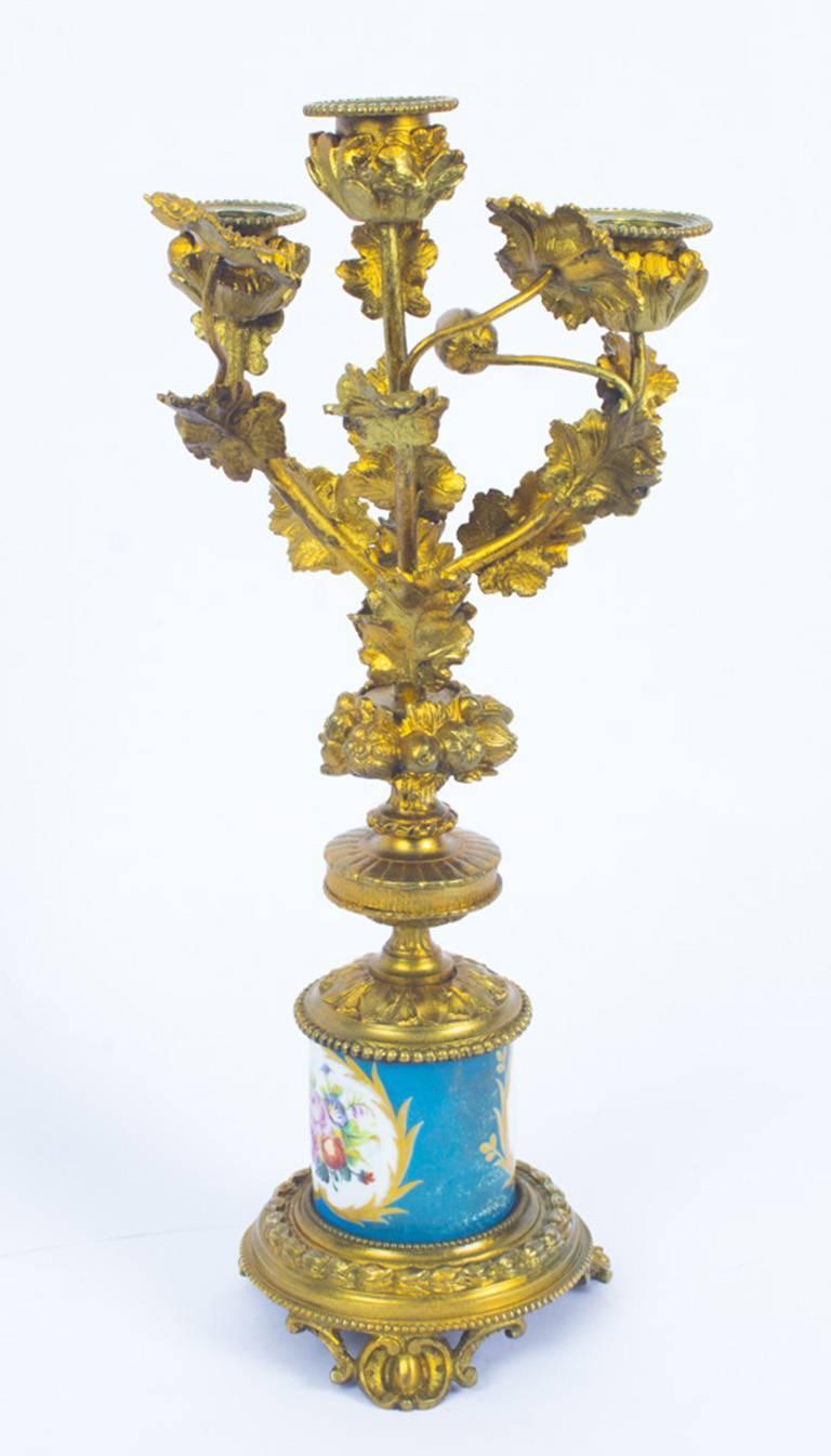 Antique Pair of Sèvres Bleu Celeste Porcelain Ormolu Candelabra, 19th Century For Sale 11