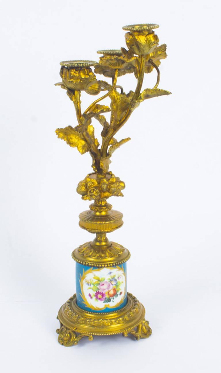 Antique Pair of Sèvres Bleu Celeste Porcelain Ormolu Candelabra, 19th Century For Sale 12