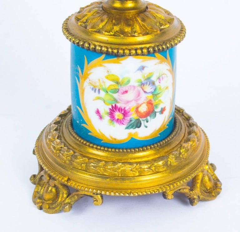 Antique Pair of Sèvres Bleu Celeste Porcelain Ormolu Candelabra, 19th Century For Sale 13