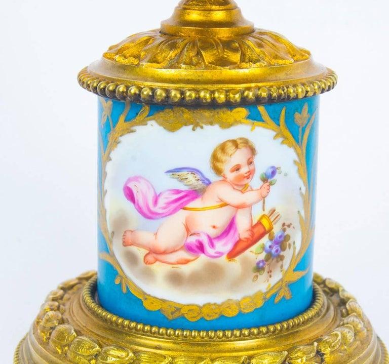Antique Pair of Sèvres Bleu Celeste Porcelain Ormolu Candelabra, 19th Century For Sale 1