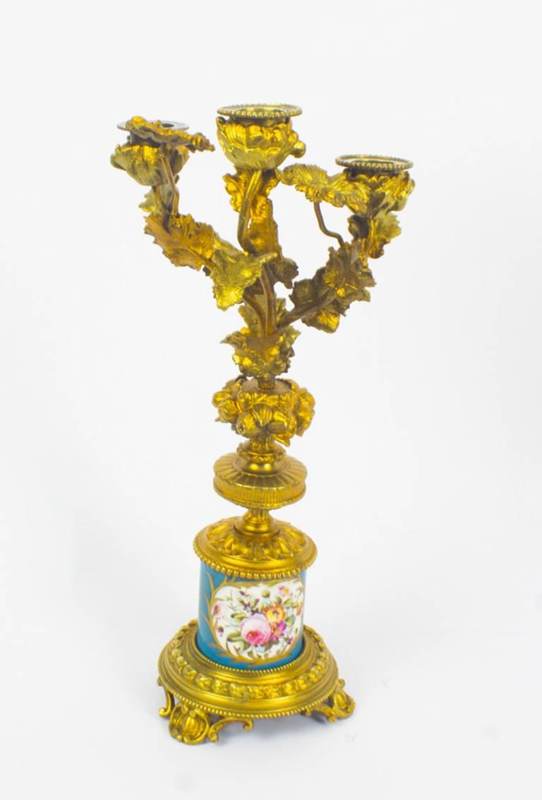 Antique Pair of Sèvres Bleu Celeste Porcelain Ormolu Candelabra, 19th Century For Sale 3