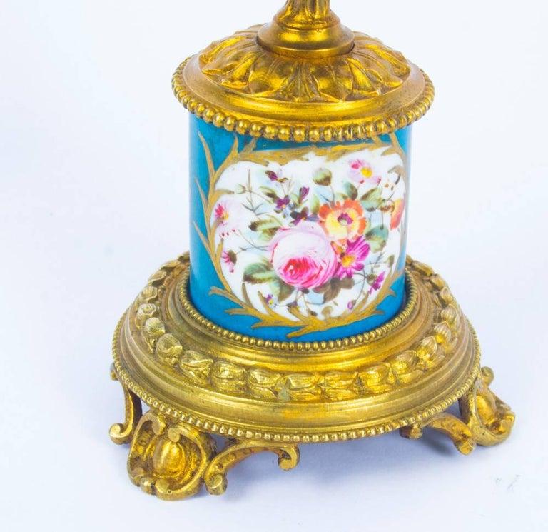 Antique Pair of Sèvres Bleu Celeste Porcelain Ormolu Candelabra, 19th Century For Sale 4