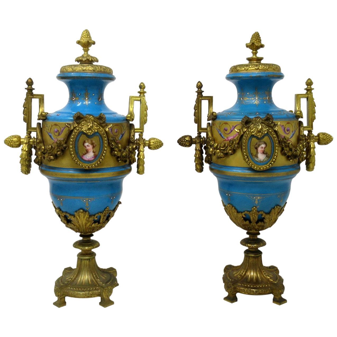 Antique Pair Sèvres Porcelain Gilt Bronze Portrait Ormolu Celest Blue Urns Vases