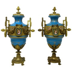 Antique Pair Sèvres Porcelain Gilt Bronze Portrait Ormolu Celest Blue Urns Vases