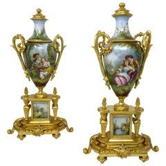 Antique Pair of Sèvres Porcelain Watteau Scene Gilt Bronze Landscape Urns Vases