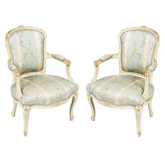 Antique Pair Shabby Chic Louis Revival French Painted Armchairs, 19th Century