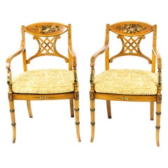 Antique Pair Sheraton Revival Painted Satinwood Armchairs, 1920s
