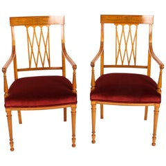 Antique Pair of Sheraton Revival Satinwood Armchairs by Maple & Co, 19th Century