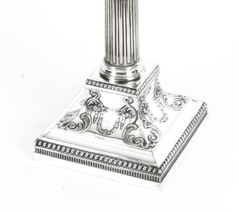 Antique Pair of Silver Plated Candlesticks by James Dixon, 19th Century For Sale 5