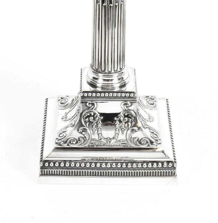 Antique Pair of Silver Plated Candlesticks by James Dixon, 19th Century For Sale 6