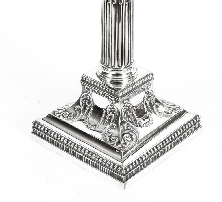 Antique Pair of Silver Plated Candlesticks by James Dixon, 19th Century For Sale 7