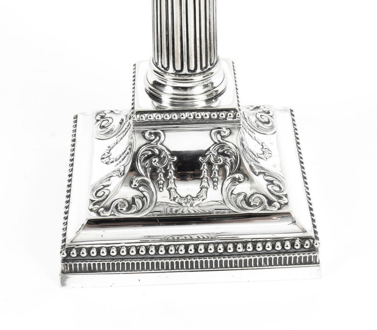 Antique Pair of Silver Plated Candlesticks by James Dixon, 19th Century For Sale 8